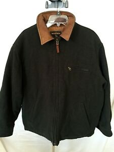 VTG-Woolrich-Men-s-Green-Jacket-L-Large-Wool-Cotton-Blend-Zip-Front