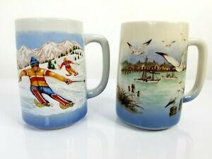 RARE-OTAGIRI-Coffee-Cup-Mug-Set-Stoneware-Blue-Painted-Winter-Birds-5-034-Japan