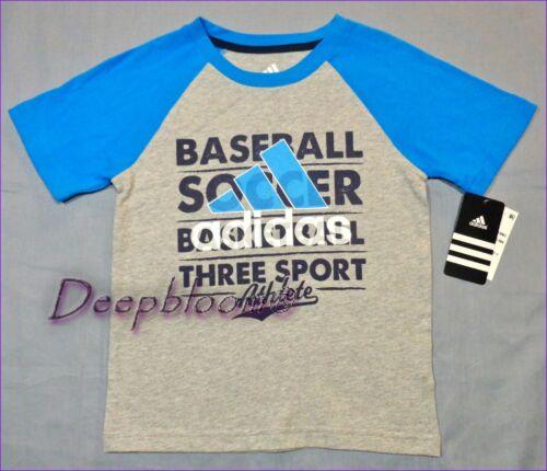 ADIDAS TOP TEE SHIRT BOYS BASEBALL SOCCER LOGO FRONT UNBETAEABLE SZ 4 5 6 7 NEW