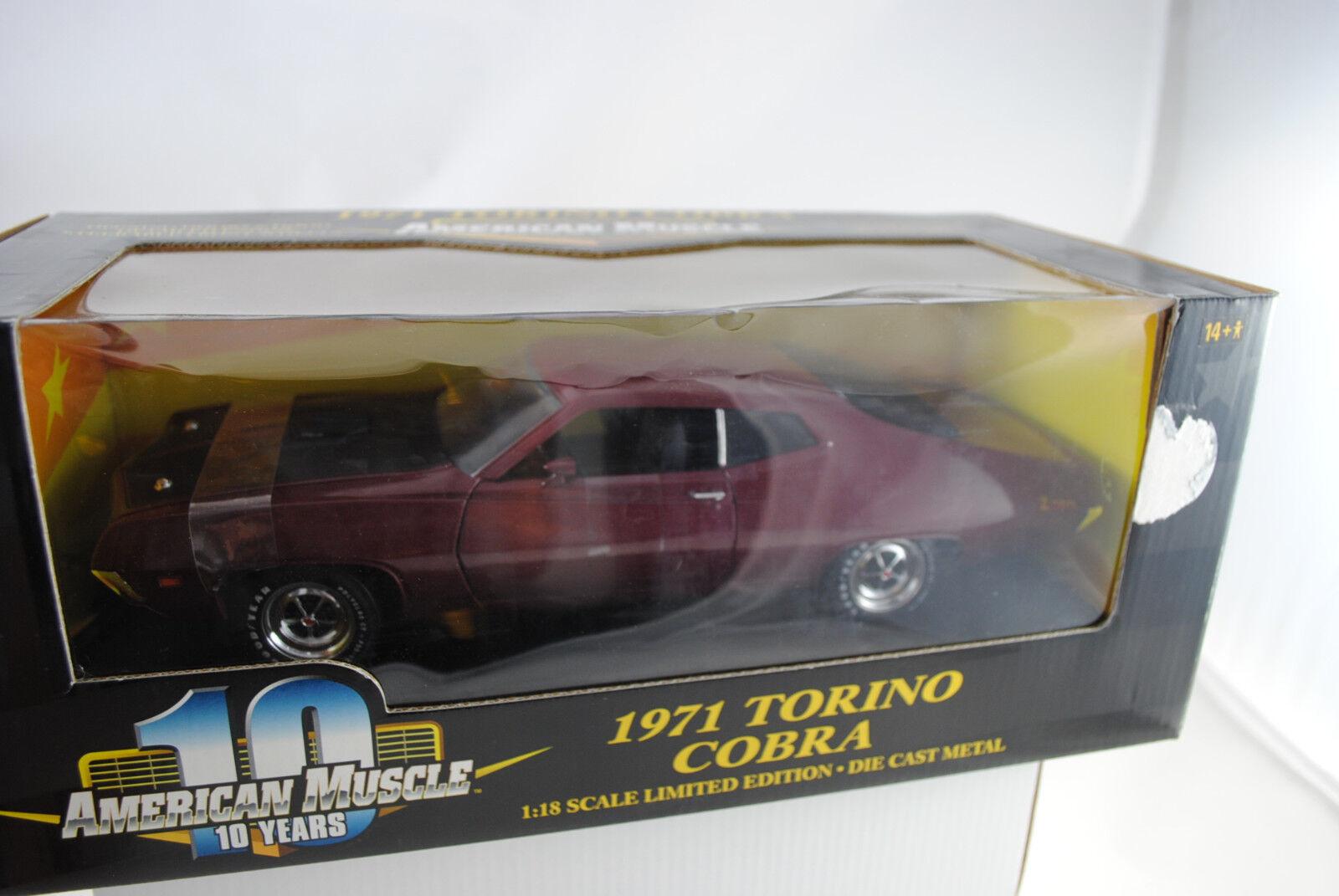 1 18 Ertl --Ford 1971 Torino Cobra Maroon Lmtd utgåva Rarity New Boxed