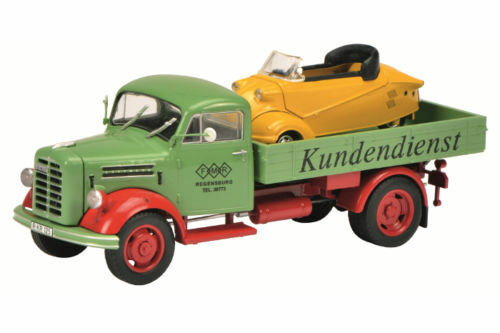 SCHUCO BORGWARD b2500   Messerschmidt Service  + Messerschmidt Cabin Scooter 1 43  coloris étonnants