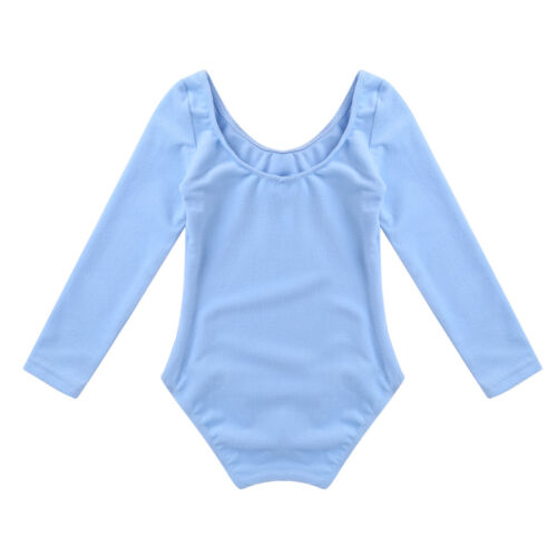 Kids Girls Gymnastic Leotard Long Sleeve Ballet Dance Bodysuit Dancewear Costume