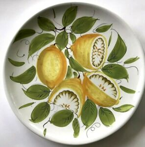 12-5-Italy-Pottery-Chop-Plate-Round-Platter-Tuscan-Lemons-Yellow-Green-White