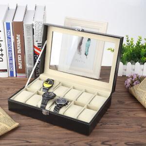 12 Grids Slot Pu Leather Watch Case Storage Display Box Organiser Black Direktverkaufspreis