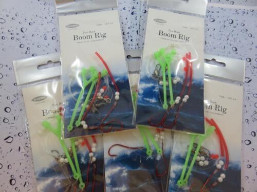 5 X FLADEN 2 HOOK BOOM RIG Sz 2//0 FOR SEA BOAT PIER BEACH ROCK FISHING