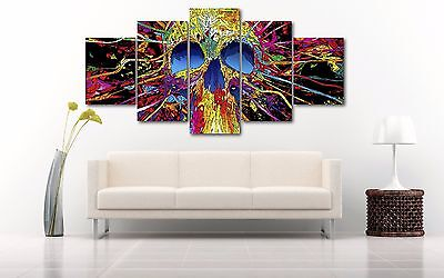 Abstract Colorful Skull Rainbow 5 Pieces Canvas Wall Art Poster Print Home Decor