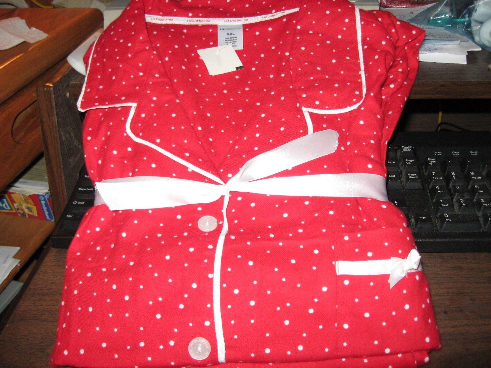 WOMENS FLANNEL PAJAMAS SIZE 2X XXLARGE LIZ CLAIBORNE RED WHITE DOTS RET 62.00NEW