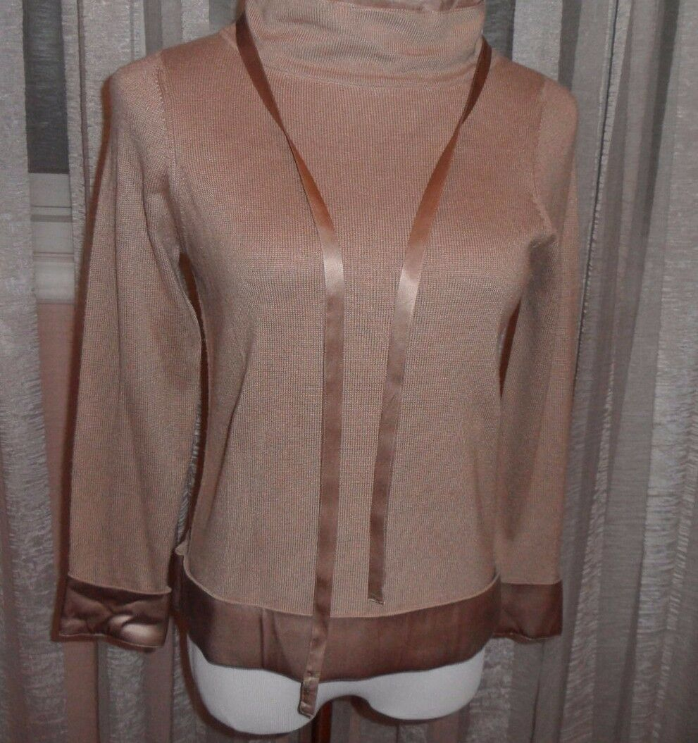 KRIZIA WOOL BLEND VERY ELEGANT TOP WITH SILK TRIMMING,M