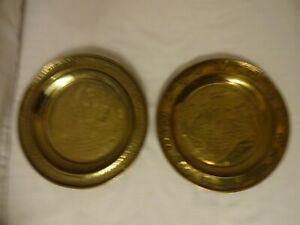 Vintage-Oriental-Brass-Plaques-x-2-Diameter-20-cm