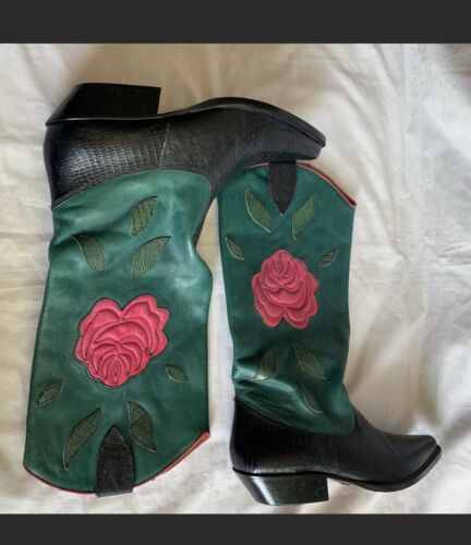 Nine West Size 8 M Cowboy Turquoise Pink Floral Co