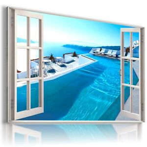SANTORINI-GREECE-SEA-HOLIDAY-3D-Window-View-Canvas-Wall-Art-Picture-W176-MATAGA