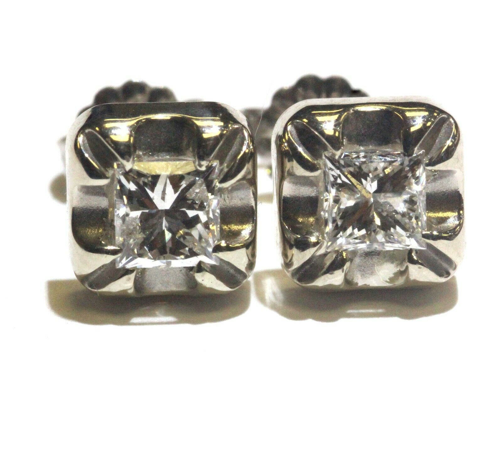 10k white gold 1.07ct I1 F princess Illusion head diamond stud earrings vintage