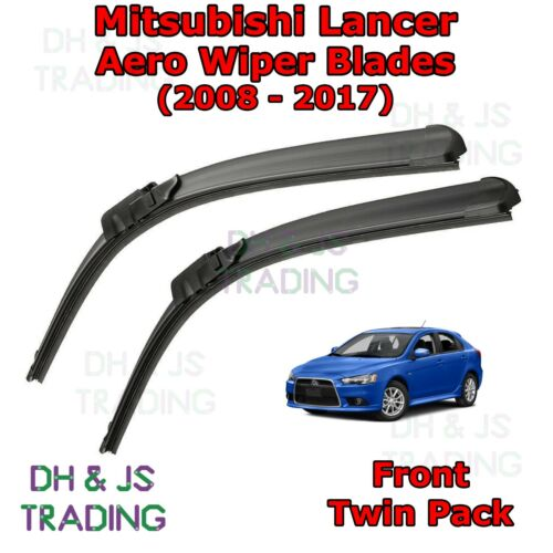 Front Windscreen Flat Blade Wipers 08-17 Mitsubishi Lancer Aero Wiper Blades