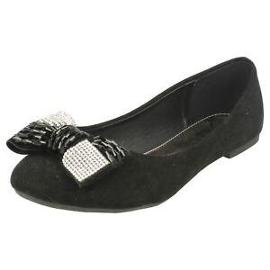 Brillant Ladies Spot On Diamante Detail 'bow Shoes' Damenschuhe Halbschuhe & Ballerinas