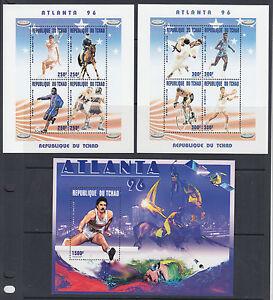 Chad-Sc-646B-646D-MNH-1996-Altanta-Olympics-complete-set-of-3-souvenir-sheets