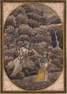 Radha-Krishna-Hindu-Miniature-Painting-Handmade-Indian-Religious-Flute-God-Art