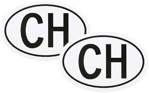 Zwei-Stueck-Schweiz-CH-Kennzeichen-Kleber-Aufkleber-Schild-13-5-cm-RICHTER-HR