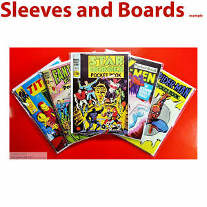 Marvel Pocket Book Star Heroes Size Comic Bags and Boards / Backing Sheets x 25