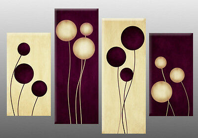 """LARGE PLUM CREAM ABSTRACT CANVAS WALL ART PICTURE SPLIT 4 PANELS 40/"""" X 28/"""""""
