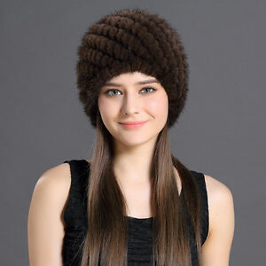 6a14127bd91 Women s Real Knitted Mink Fur Winter Hat Cap Stretchable Brown ...
