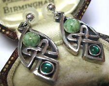 VINTAGE DESIGN MIRACLE JEWELLERY CELTIC LOVE KNOT IONA GLASS DROP EARRINGS