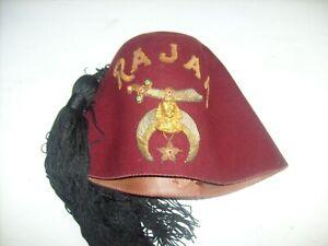14822374a Details about Vintage Masonic RAJAH Temple Fez Cap Hat with Tassel + medal  !! ~ PA Shriner