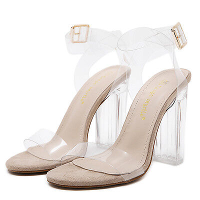 Fashion Women's Ankle Strap High Heels Shoes Transparent Clear Sandals Shoes New