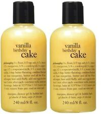 2 New Philosophy Vanilla Birthday Cake Shampoo Shower Gel Bubble Bath 8 Oz X