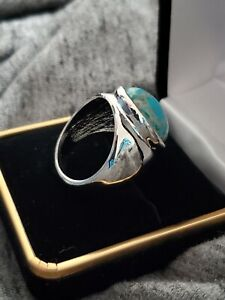 SOLID-925-STERLING-SILVER-BLUE-COPPER-TURQUOISE-MEN-039-S-RING-SIZE-8-10