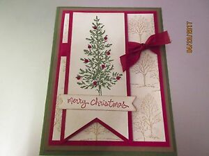 Handmade Christmas Card Images.Details About Stampin Up Handmade Christmas Greeting Card Merry Christmas Tree In Red Green