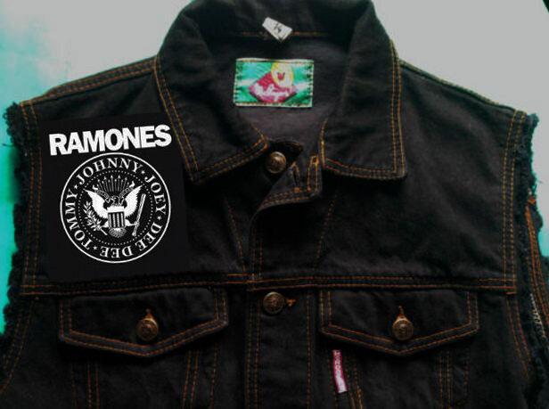 Ramones Hey Ho Let's Go Punk Filles Noir Denim Cut-off Veste Veste 8-16