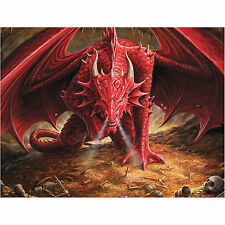 Dragons Lair Anne Stokes Wall Plaque Gothic Red Fire Fantasy Art Canvas Picture