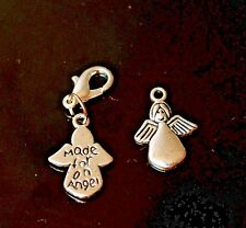 Silver Made For An Angel Clip on Pendant Charm for Bracelet or Necklace