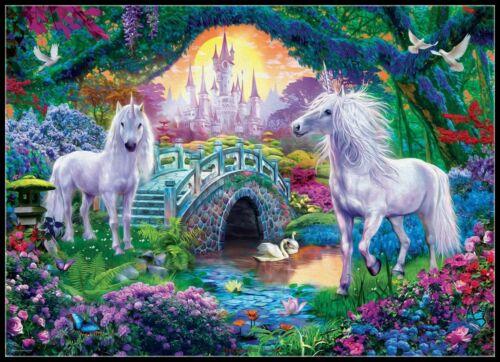 Unicorns in Fairy Land DIY Chart Counted Cross Stitch Patterns Needlework