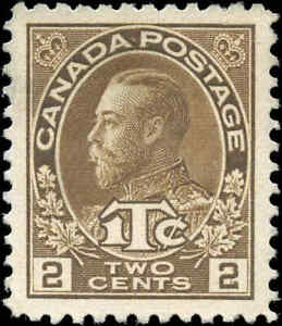 Mint-No-Gum-Canada-2c-1c-1916-VF-Scott-MR4-War-Tax-Stamp
