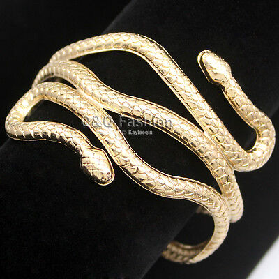 Chic Egypt Cleopatra Swirl Snake Arm Cuff Armlet Armband Open Bangle Bracelet W8