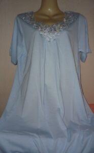 buy online c4110 b5300 Details zu Damen Nachthemd Sleepshirt m. opulenter Spitze hellblau  Baumwolle Gr.M - XXXL