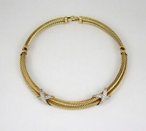 f54529a2eb168 Details about David Yurman 14k Solid Gold Double X Double Cable 1.60ct  Diamond Choker Necklace