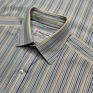 Mens-16-Turnbull-amp-Asser-Yellow-Green-Blue-Mini-Stripe-Cotton-Dress-Shirt