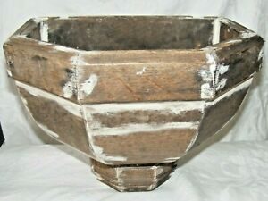 LARGE-ANTIQUE-FRENCH-WOODEN-CHURCH-WATER-FONT-FOR-RESTORATION-PLANTER-PLANT-POT