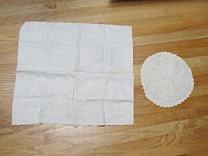 Vintage Lot 2 Different Stamped for Embroidery Doily Circles Partially Done