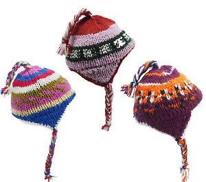 2be61412a0ed Bonnet enfant laine doublé polaire coloré peruvien cache oreille ...