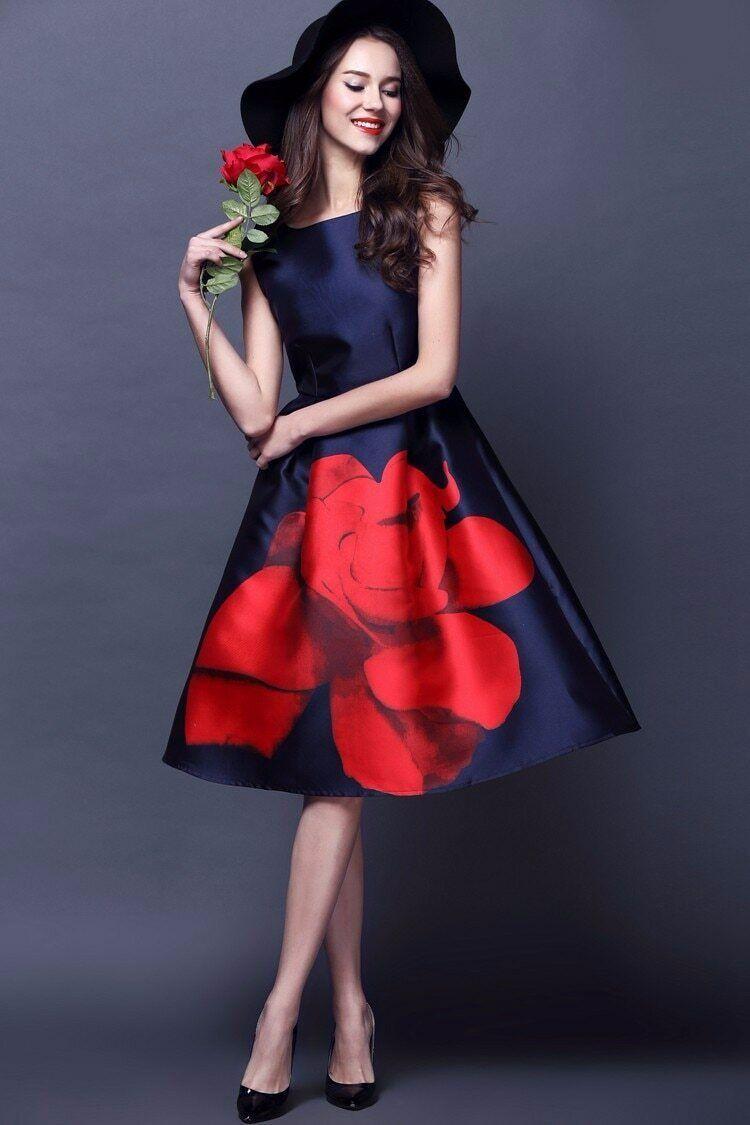 New schwarz rot Rosa Floral Ball Gown Vogue Wedding Evening Empire Midi Robe DRESS
