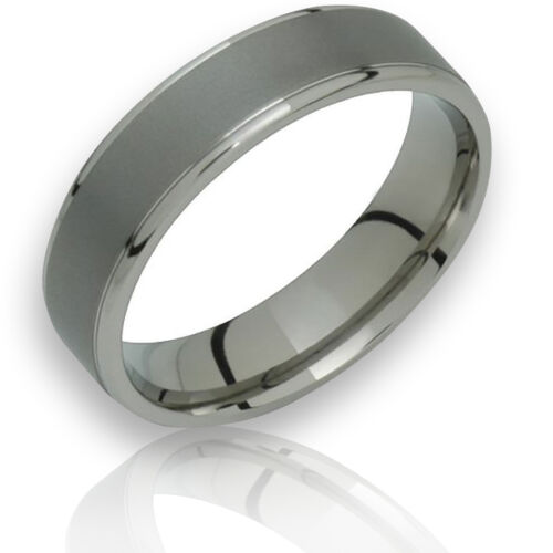 Trendy Titanium Ring Comfort Fit 6mm Wide Polished Edges Wedding Band Sz 4 to 14