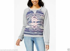 NWT-40-MACY-039-S-ROLL-cuff-sleeve-woven-sweater-blouse-gray-pink-Print-XL-top