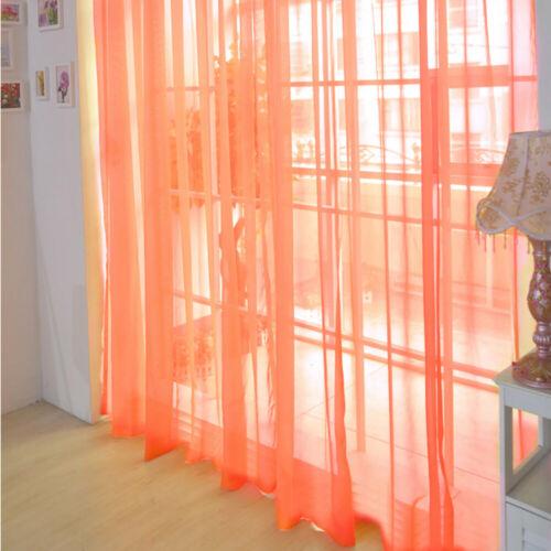 1 PCS Pure Color Tulle Door Window Curtain Drape Panel Sheer Scarf Valances