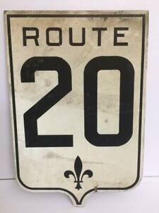 VINTAGE-ANTIQUE-18-034-QUEBEC-1930S-RURAL-HIGHWAY-ROAD-SIGN-ROUTE-20-AUTHENTIC-WOOD