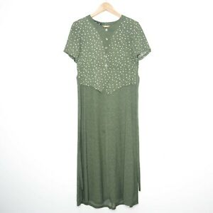 Retro-1900-039-s-Style-Womens-Olive-Green-Polka-Dot-Maxi-Short-Sleeve-Dress-Size-L