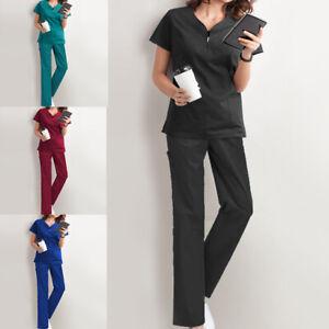 Women Scrub Uniform Set V-Neck Tunic Trousers Medical Hospital Nurse Doctor Suit