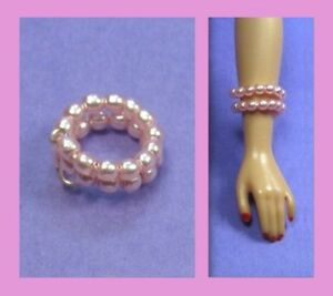 Dreamz-PINK-PEARL-SNAKE-BRACELET-Doll-Jewelry-VINTAGE-REPRO-made-for-Barbie